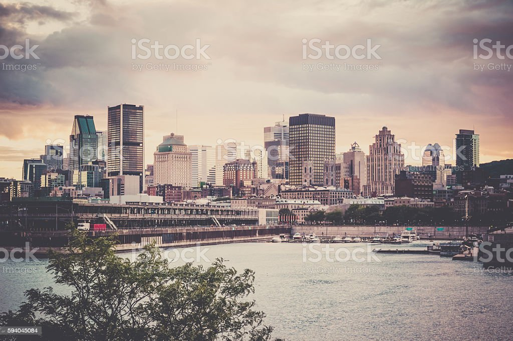 Montreal Cityscape at Sunset stock photo