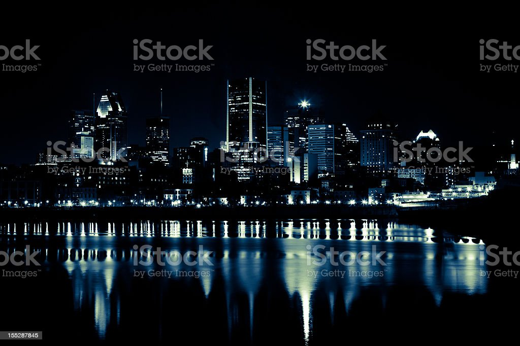 Montreal Cityscape in Summer at Night royalty-free stock photo