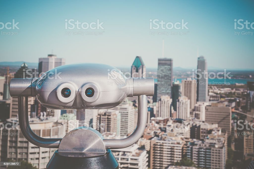 Montreal Cityscape in Summer With Binoculars stock photo