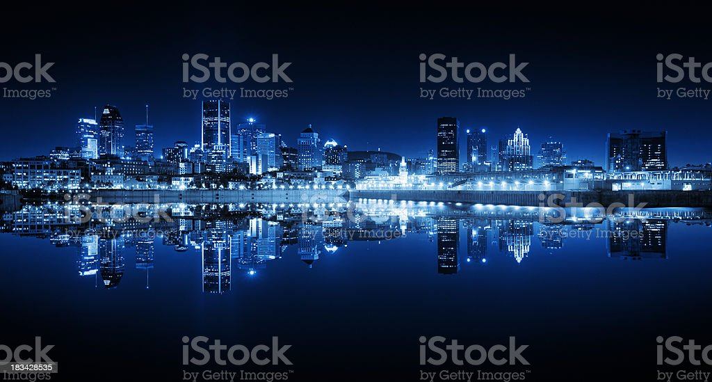 Montreal Cityscape Reflection at Night stock photo