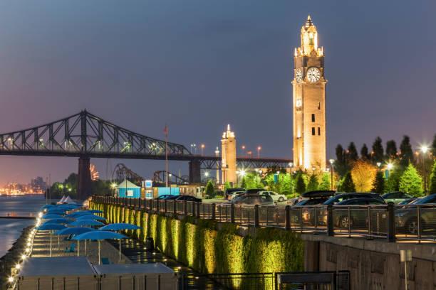 Montreal Clock Tower at night stock photo