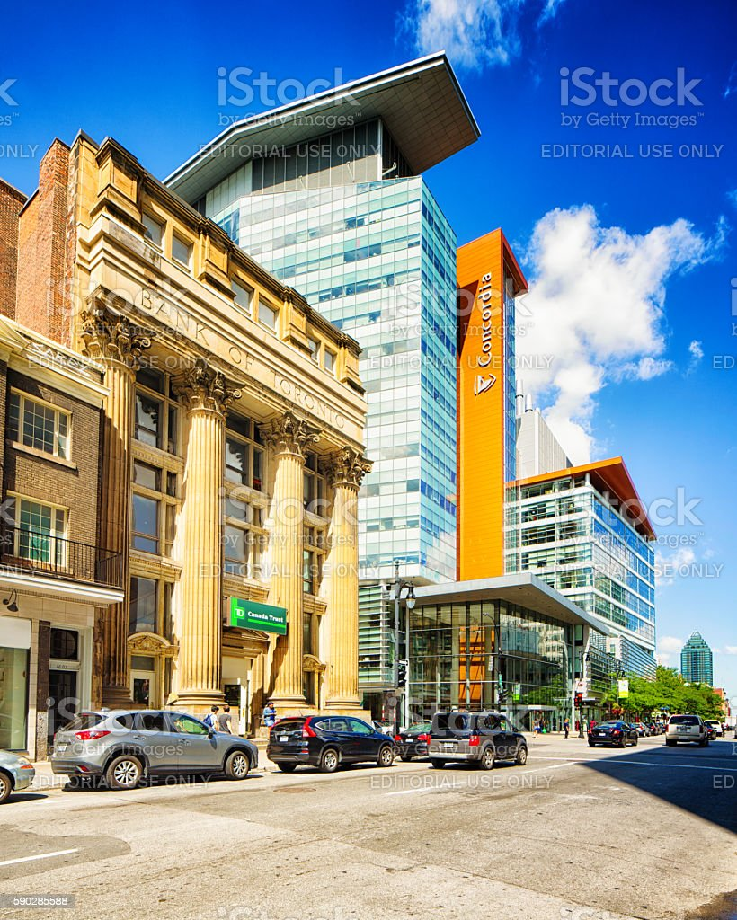 Montreal Concordia University EV Building and Sainte-Catherine street stock photo