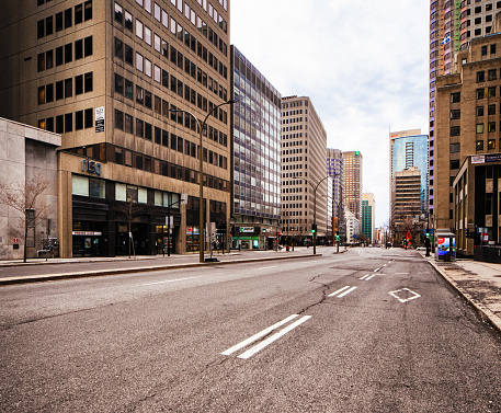 Montreal Deserted boulevard René-Lévesque during Covid 19 crisis. The usually crowded boulevard is lined with office buildings, stores and cafes.
