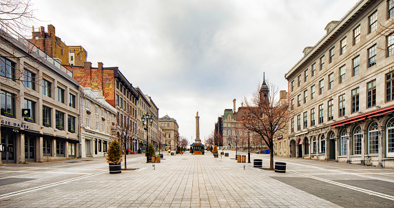 Montreal deserted place Jacques-Cartier on a cloudy Springtime day panoramic view