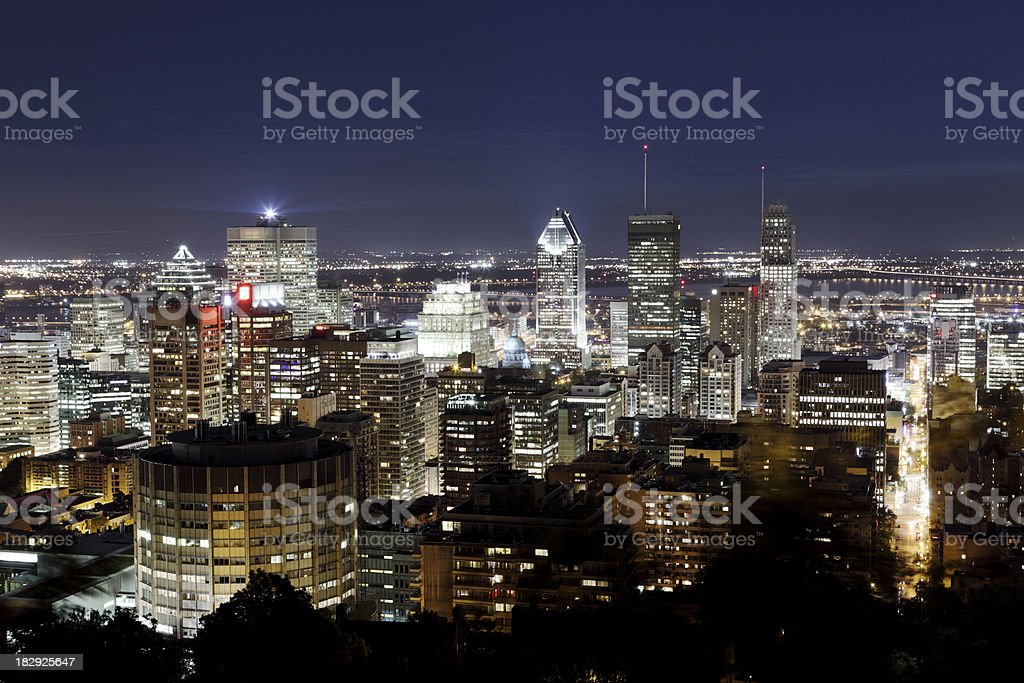Montreal downtown at night royalty-free stock photo