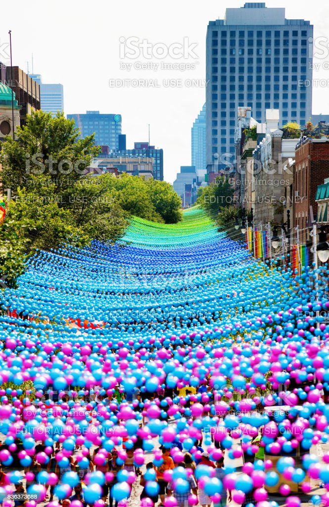Montreal gay pride decorated Ste-Catherine Street from above stock photo