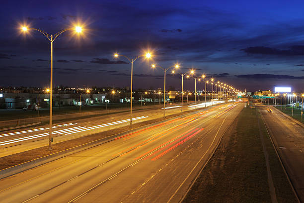 Montreal Illuminated Highway at Night stock photo