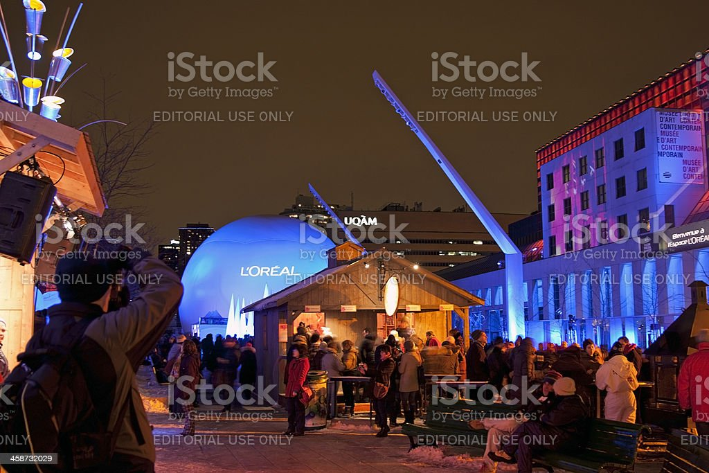 Montreal in lights 2010 Cabin stock photo