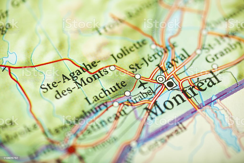 Montreal map, Canada royalty-free stock photo