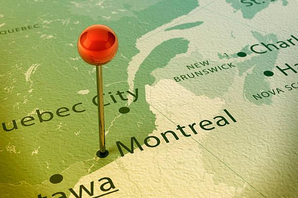 montreal-karte stadt vintage straight pin - kanada rundreise stock-fotos und bilder