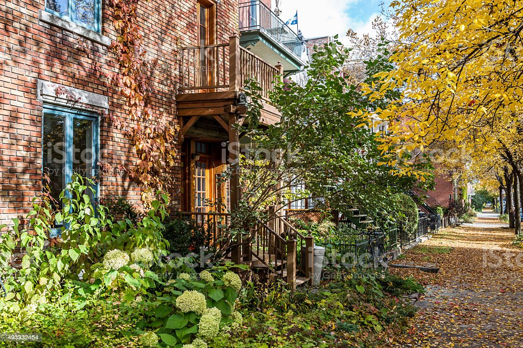 Montreal Neighbourhood in Autumn stock photo