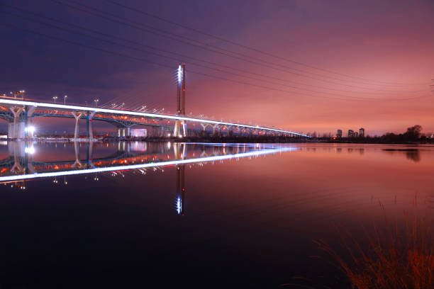 Montreal New Champlain Bridge, with Water Reflection at Night stock photo