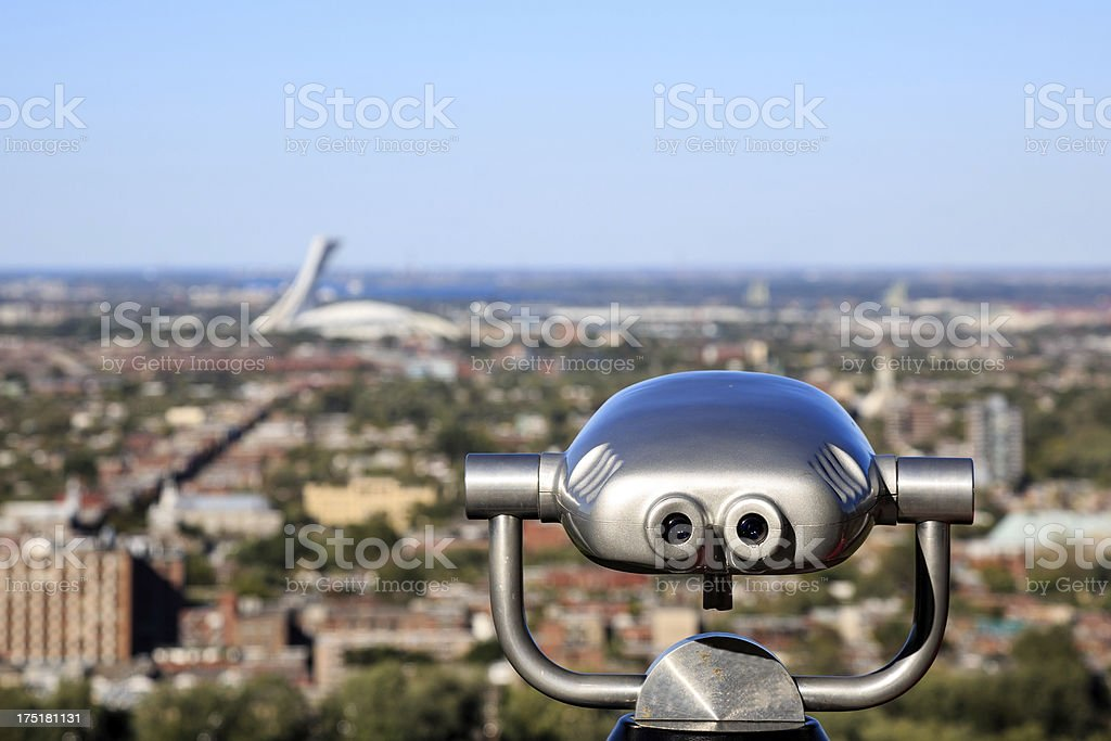 Montreal Olympic Stadium view from Mont Royal stock photo