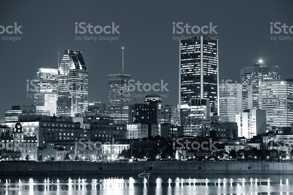 Montreal over river at dusk stock photo