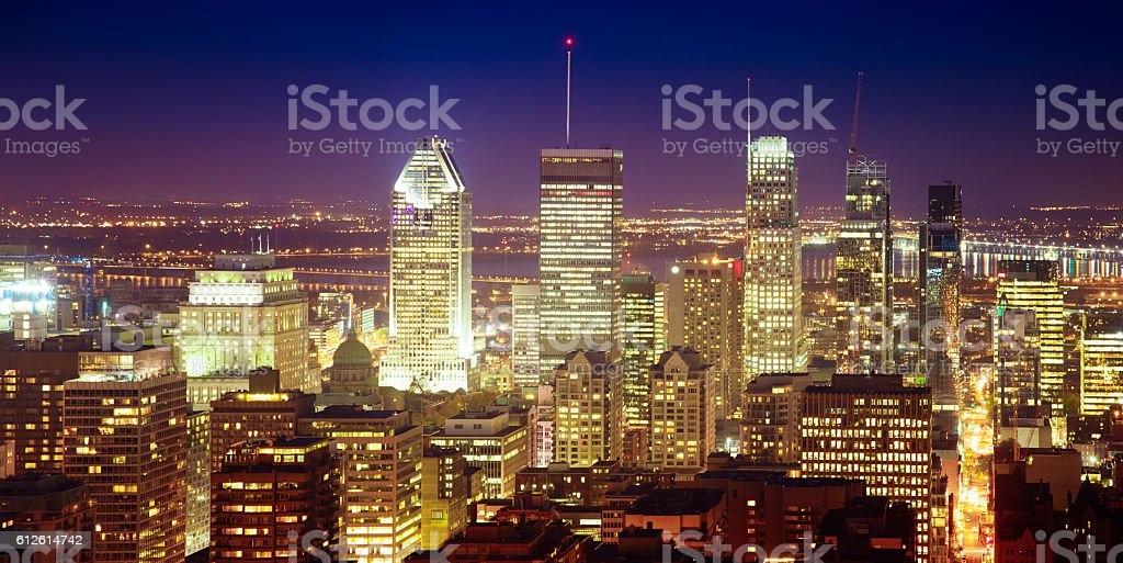 Montreal Quebec Canada aerieal panoramic skyline at night stock photo