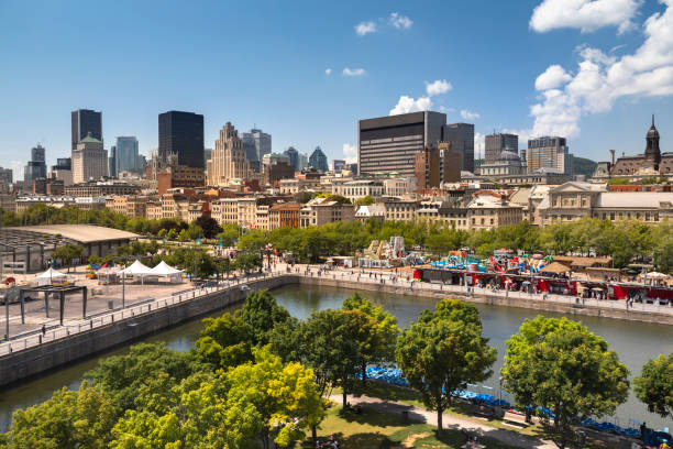 Montreal Quebec Canada city skyline view stock photo