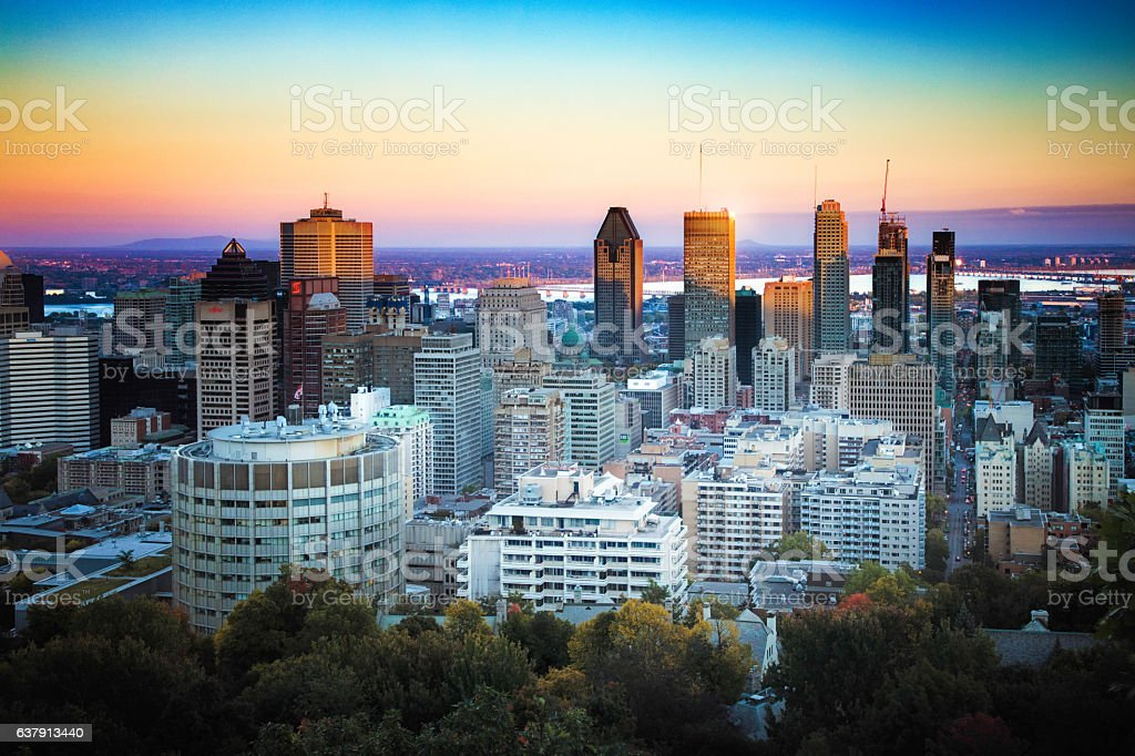 Montreal skyline at dusk with partial shade stock photo