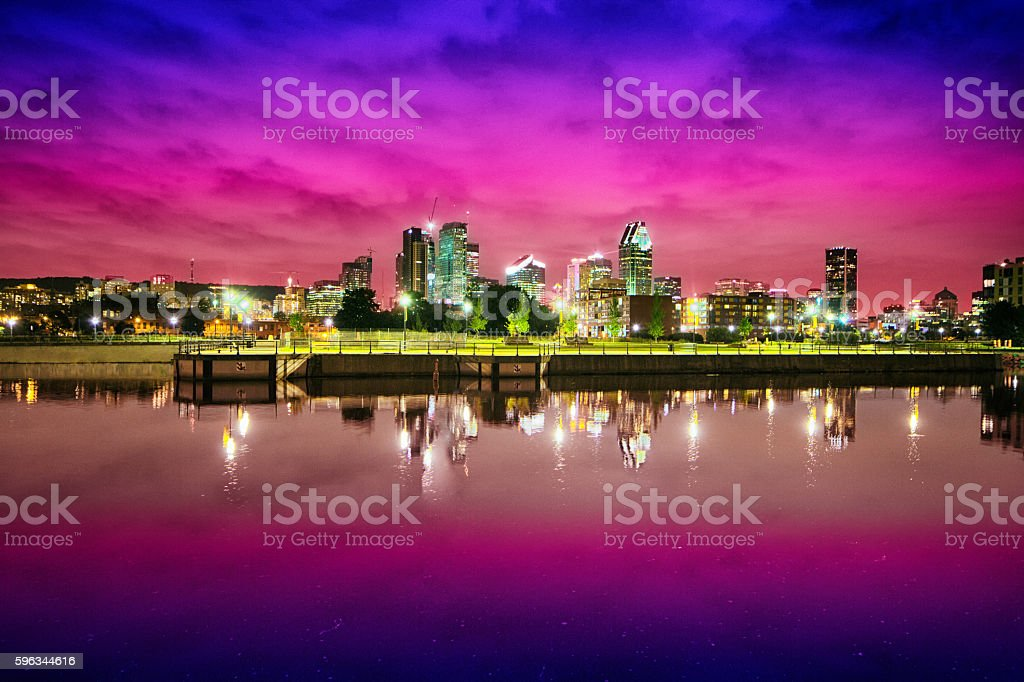 Montreal skyline at night from Canal Lachine stock photo
