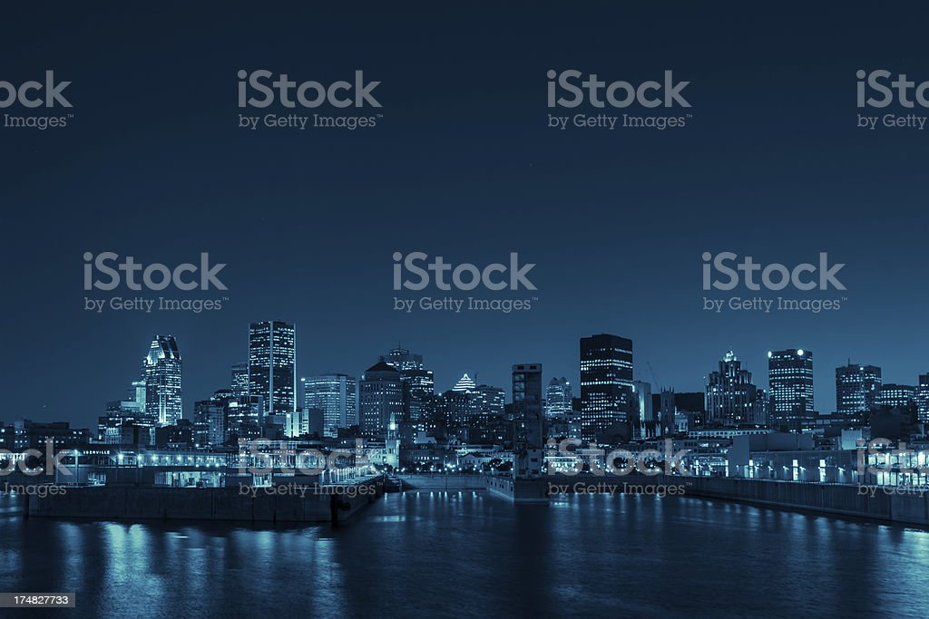 Montreal skyline at night royalty-free stock photo