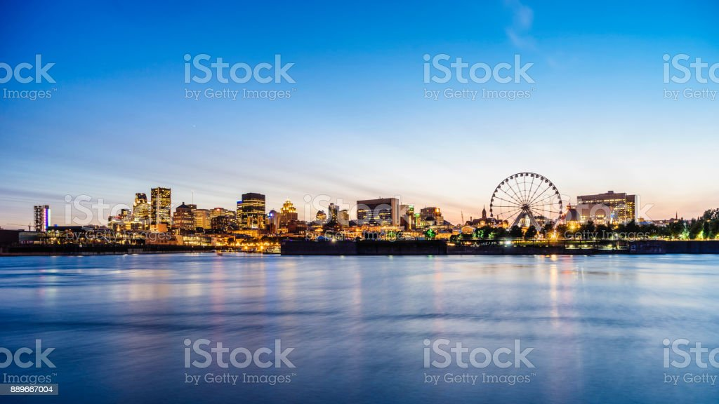 Montreal skyline at sunset stock photo