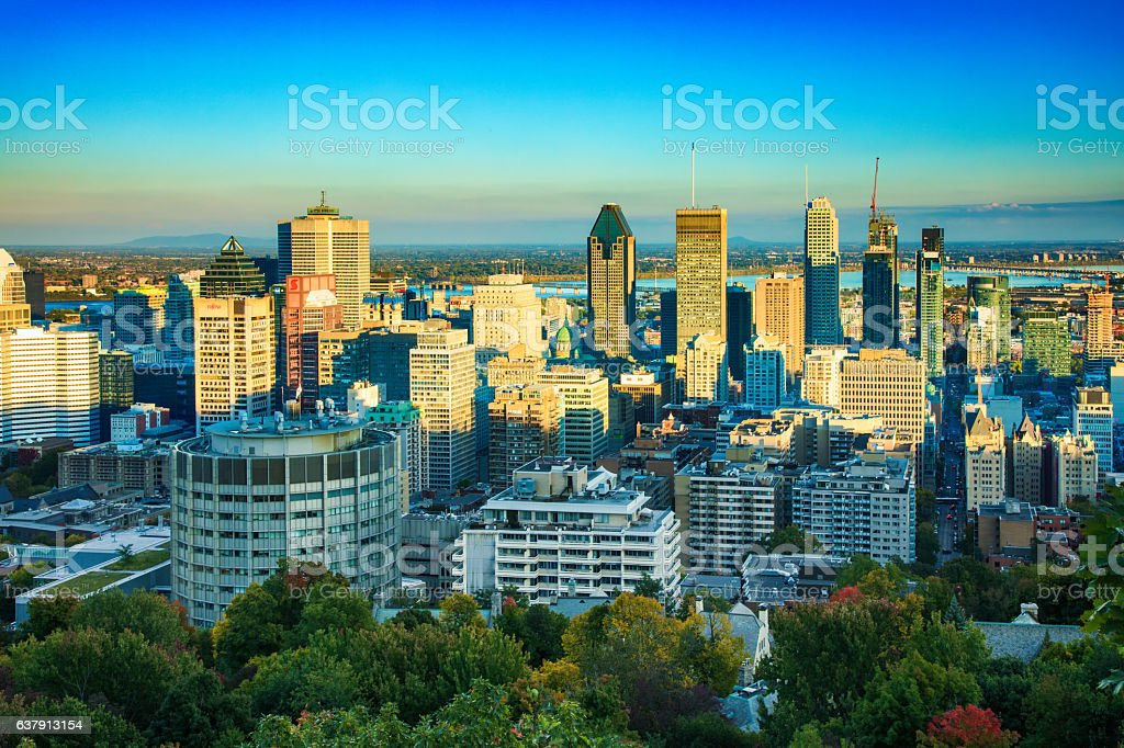 Montreal skyline at sunset with partial shade stock photo