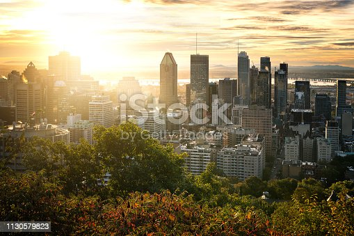 Montreal skyline early in the morning from Mont Royal park, Canada