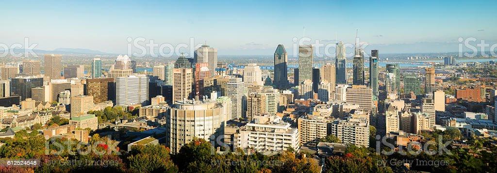 Montreal skyline panorama at sunset on sunny Autumn day stock photo