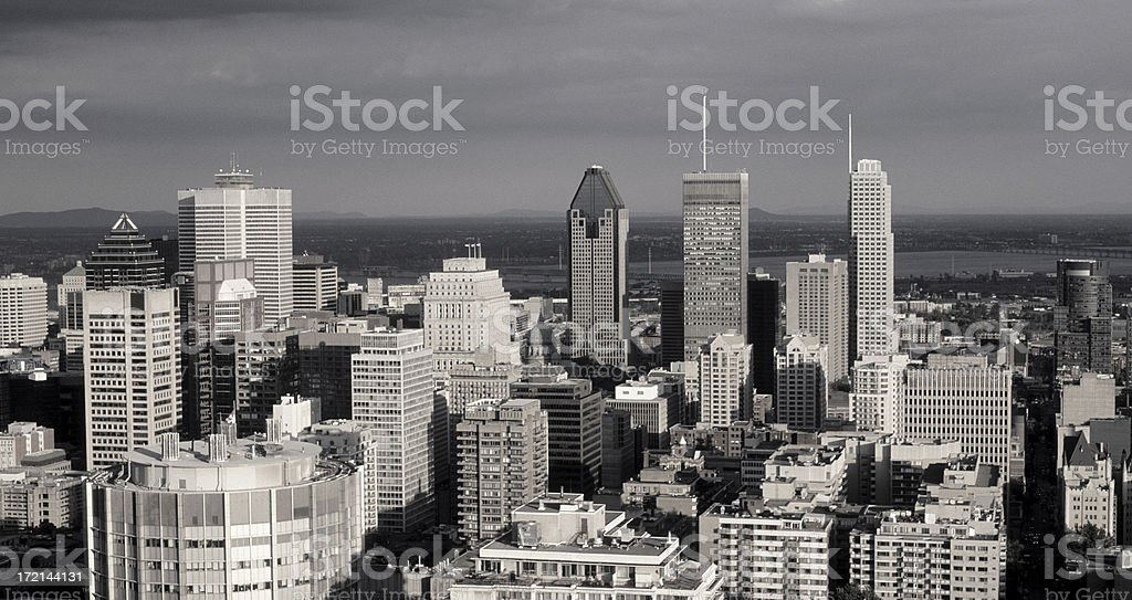 B&W Montreal skyline royalty-free stock photo