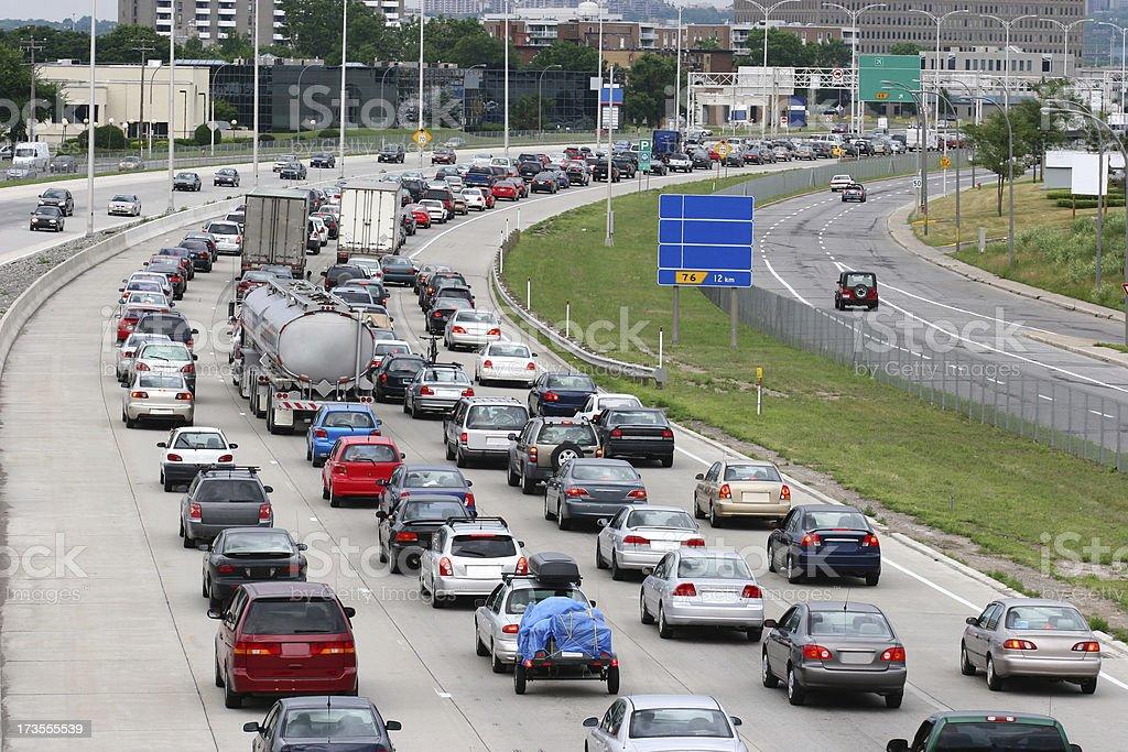 Montreal Urban Highway Traffic Jam royalty-free stock photo