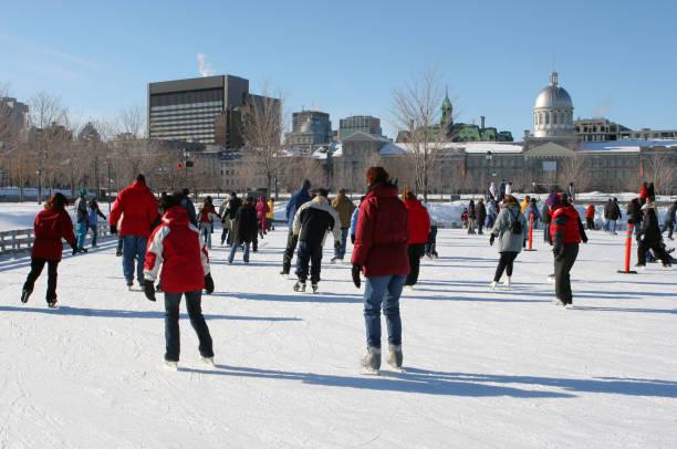 Montreal Winter Ice Skating Park stock photo