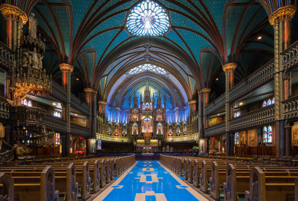 Montreal's Notre-Dame Basilica Montreal's Notre-Dame Basilica is one of the crown jewels in Quebec's rich religious heritage basilica stock pictures, royalty-free photos & images