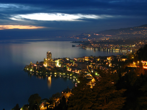 Montreux at night, Switzerland