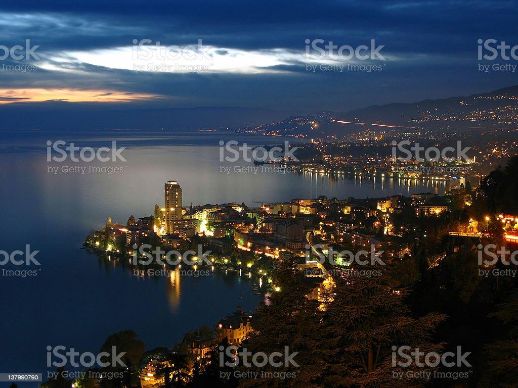 Montreux at night, Switzerland stock photo