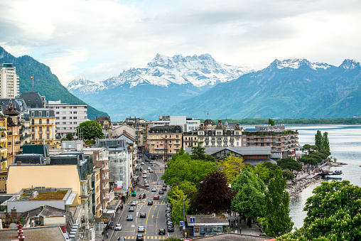Montreux cityscape: lake Geneva and Alps