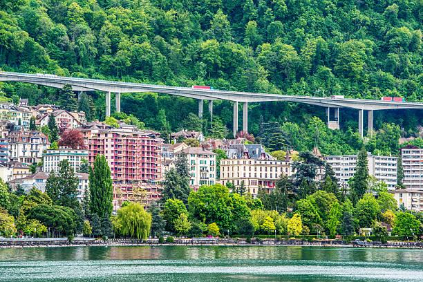 montreux cityscape, switzerland - hotel alpenblick stock-fotos und bilder