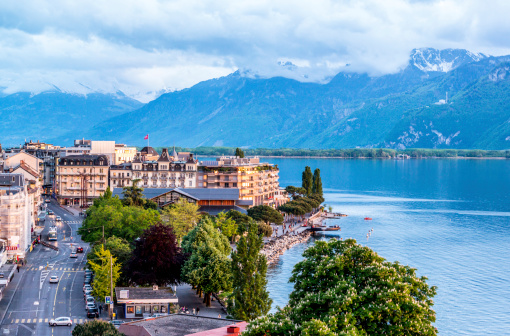 Montreux from above: lake Geneva and Alps