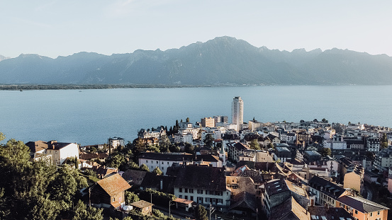 Montreux, lake Geneva and Alps drone photo