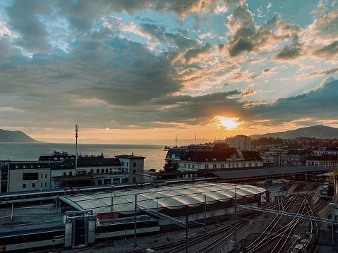 Montreux railway station in Switzerland
