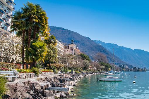Montreux Riviera of Lake Geneva in Switzerland