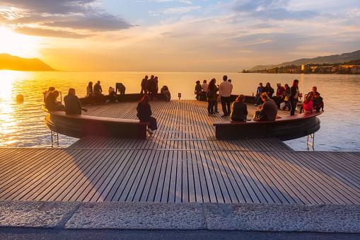 Montreux, Switzerland, sunset view point