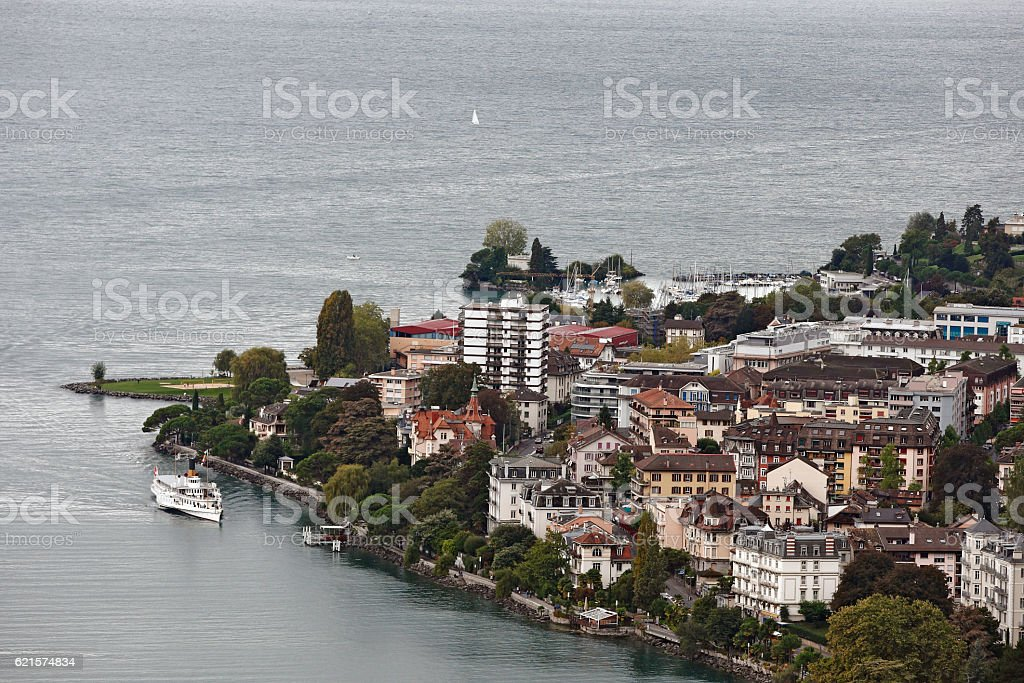 Montreux, Switzerland - View of the City and lake Geneva photo libre de droits