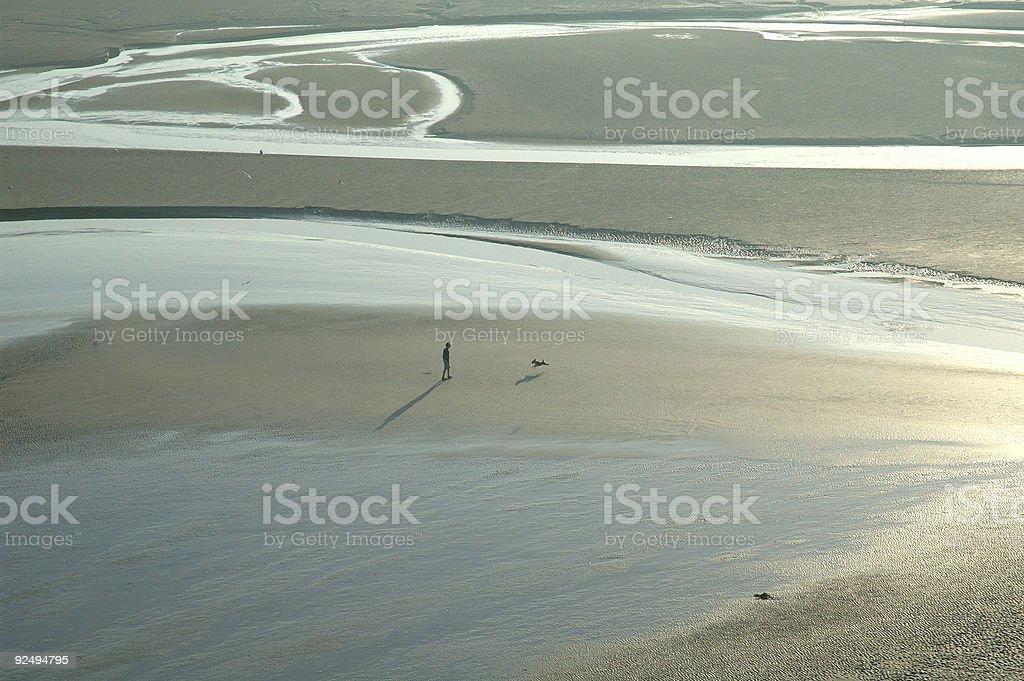 Mont-Saint-Michel and its Bay at Dawn royalty-free stock photo