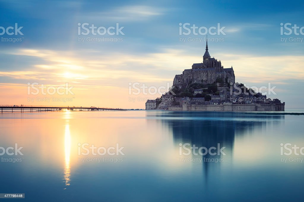 Mont-Saint-Michel at sunset stock photo