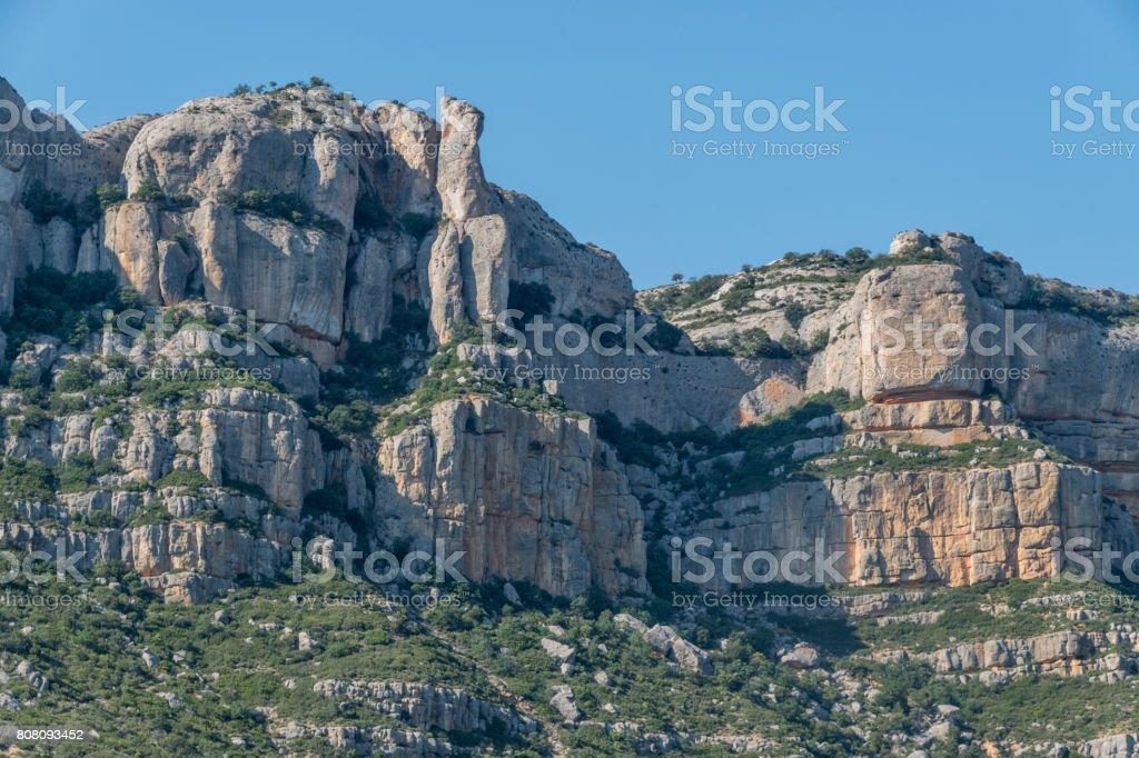 Montsant mountains in Priorat, Tarragona, Catalonia, Spain stock photo