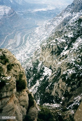 Panoramic view of canyon at Montserrat, winter time, in Catalonia, Spain.