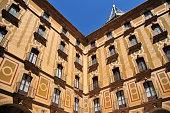 Montserrat, Catalonia: Santa Maria de Montserrat Benedictine abbey inner court - ornate façade - photo by M.Torres