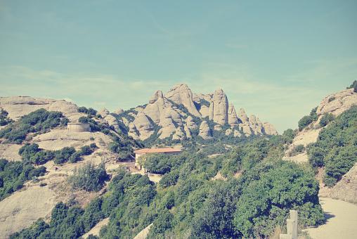 Montserrat mountain, Barcelona on a sunny day; retro style