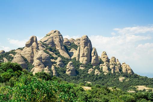 Montserrat mountain, Catalonia, Barcelona, Spain Sunny day, blue sky