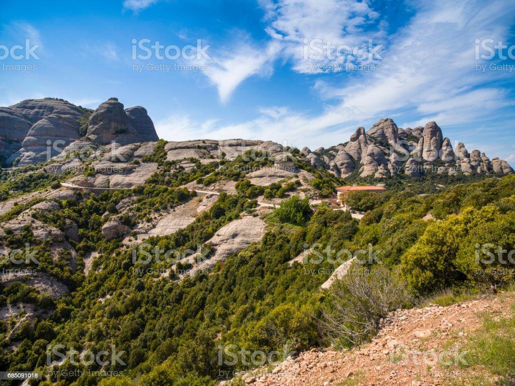 Montserrat mountains near Benedictine abbey Santa Maria de Montserrat royalty-free stock photo