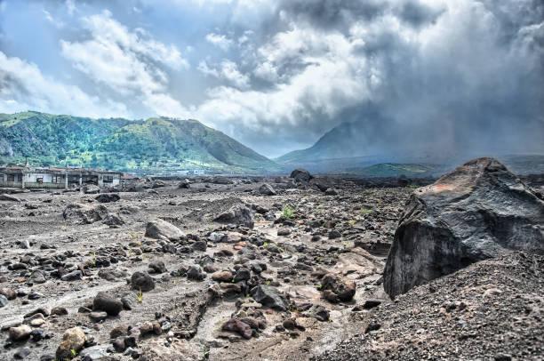 Montserrat-Sperrgebiet, das durch Vulkane verwüstet wurde – Foto